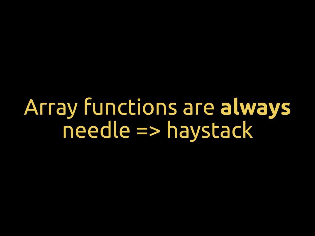 Array functions are always needle => haystack