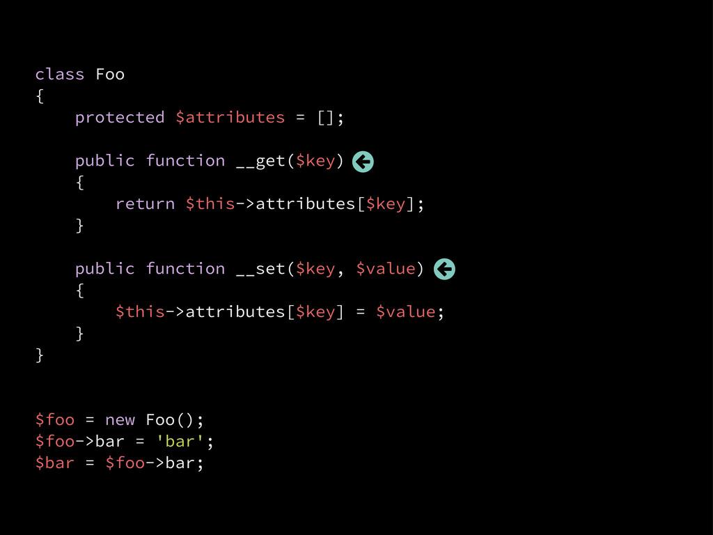 class Foo { protected $attributes = []; public ...