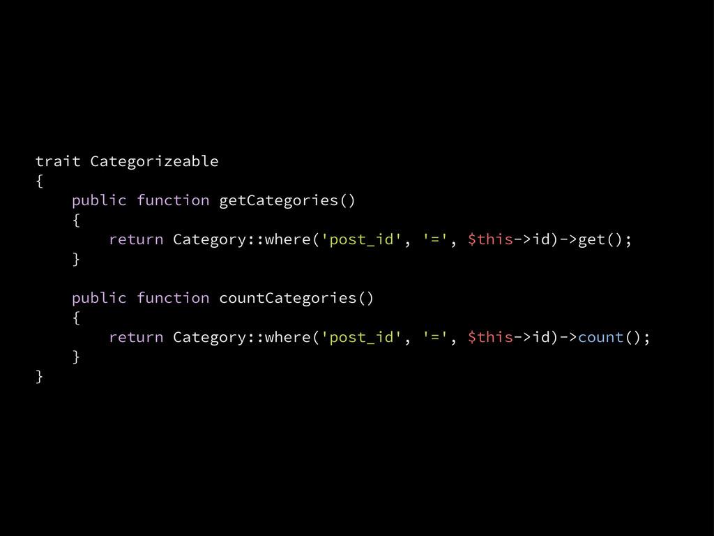 trait Categorizeable { public function getCateg...