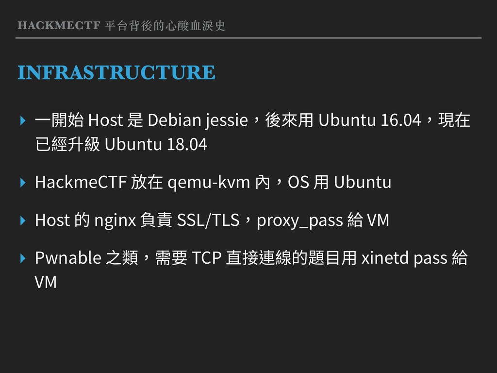 HACKMECTF 平台背後的⼼酸⾎淚史 INFRASTRUCTURE ▸ ⼀開始 Host ...