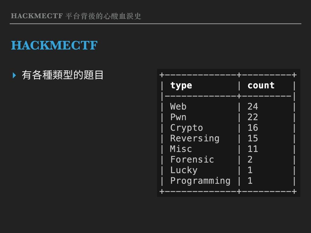 ▸ 有各種類型的題⽬ HACKMECTF 平台背後的⼼酸⾎淚史 HACKMECTF