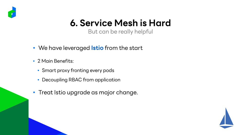 ● We have leveraged Istio from the start ● 2 Ma...