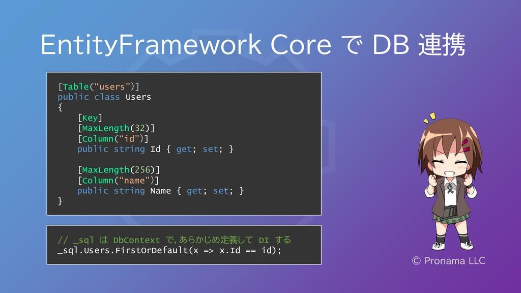 EntityFramework Core で DB 連携 © Pronama LLC [Tab...