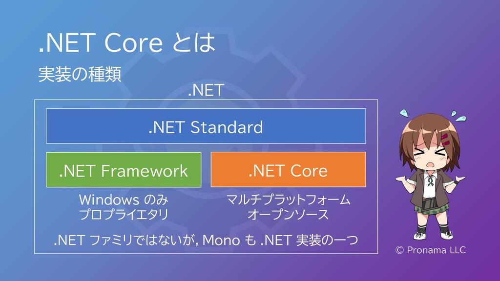 .NET Core とは © Pronama LLC 実装の種類 .NET Standard ...