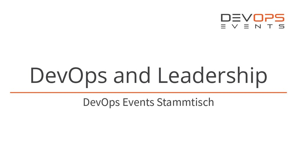 DevOps and Leadership DevOps Events Stammtisch