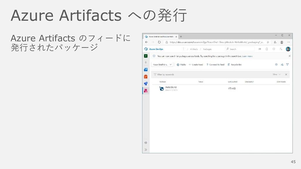 Azure Artifacts への発行 Azure Artifacts のフィードに 発行さ...