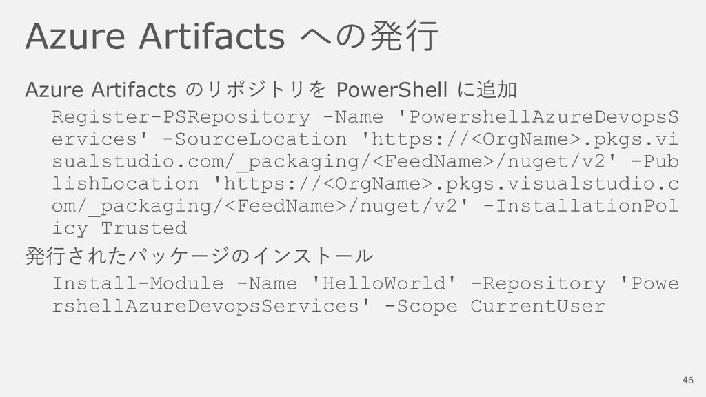 Azure Artifacts への発行 Azure Artifacts のリポジトリを Po...