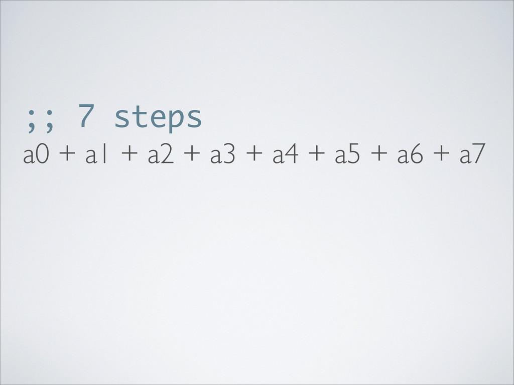 ;; 7 steps a0 + a1 + a2 + a3 + a4 + a5 + a6 + a7