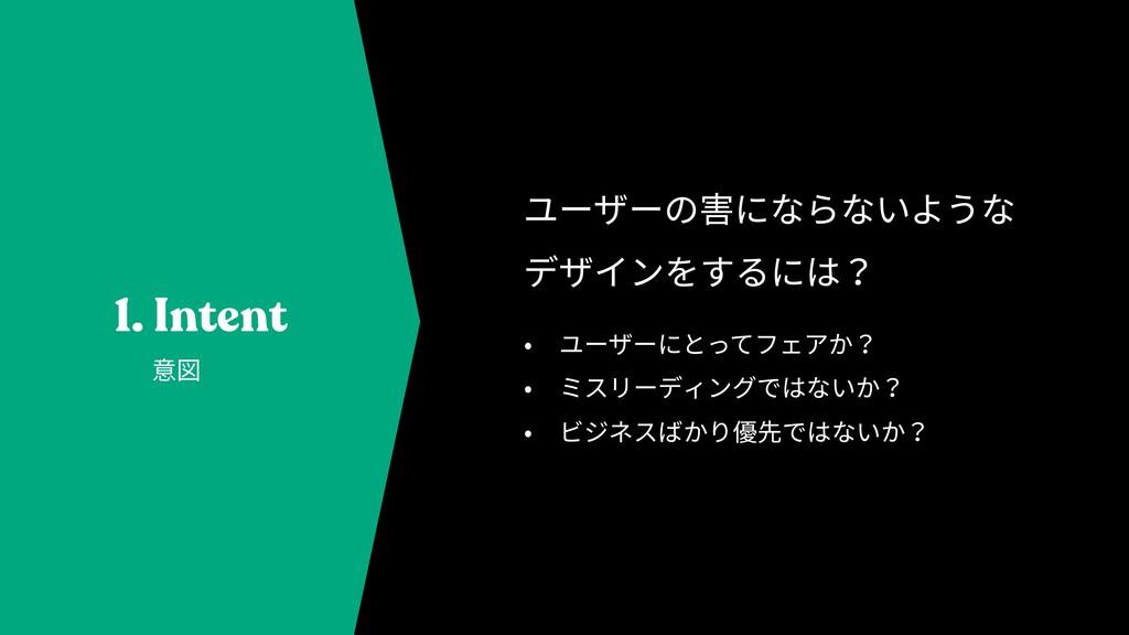 1. Intent • ユーザーにとってフェアか? • ミスリーディングではないか? • ビジ...