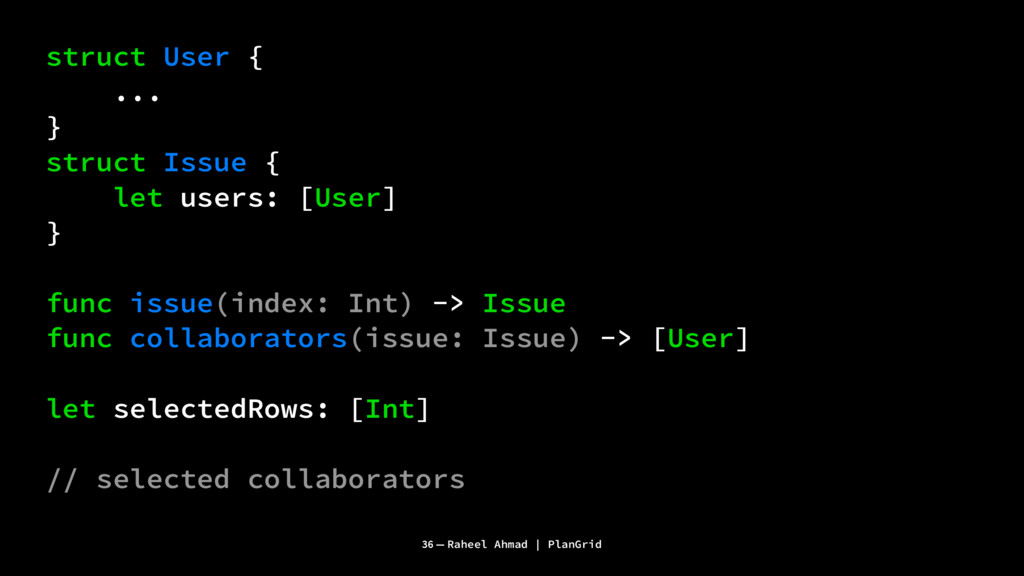 struct User { ... } struct Issue { let users: [...