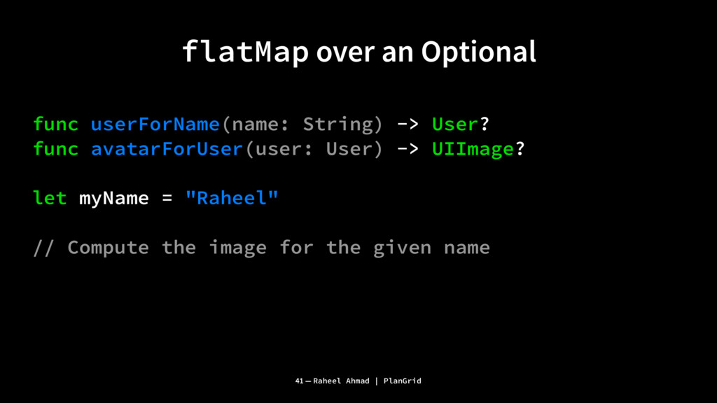 flatMap over an Optional func userForName(name:...