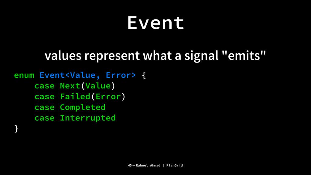 """Event values represent what a signal """"emits"""" en..."""