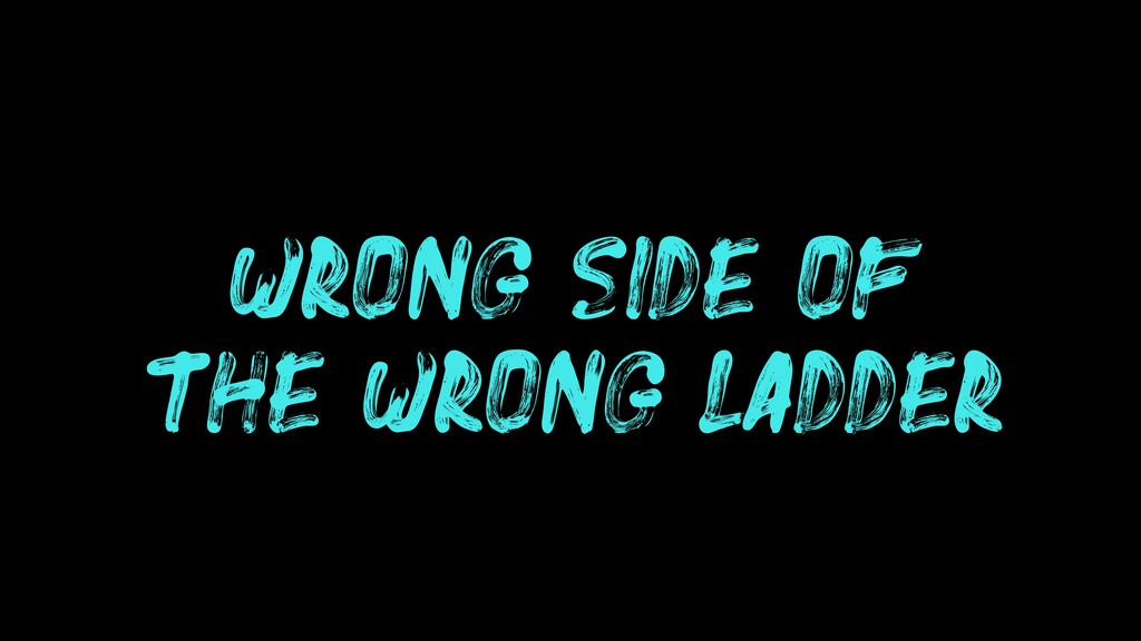 WRONG SIDE OF THE WRONG LADDER