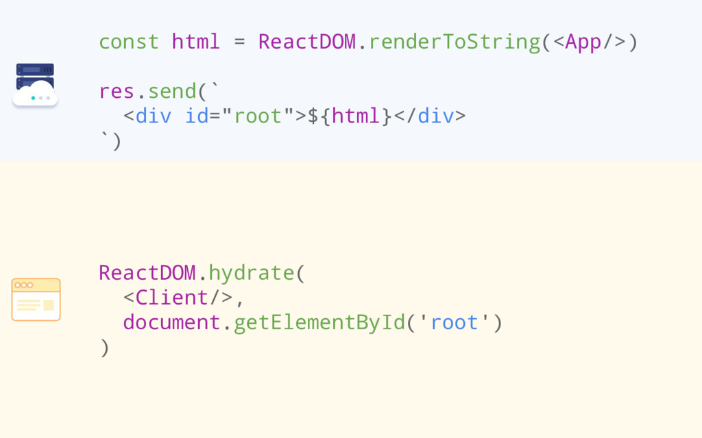 const html = ReactDOM.renderToString(<App/>) re...