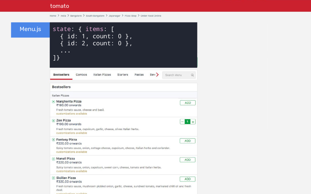 tomato Menu.js state: { items: [ { id: 1, count...