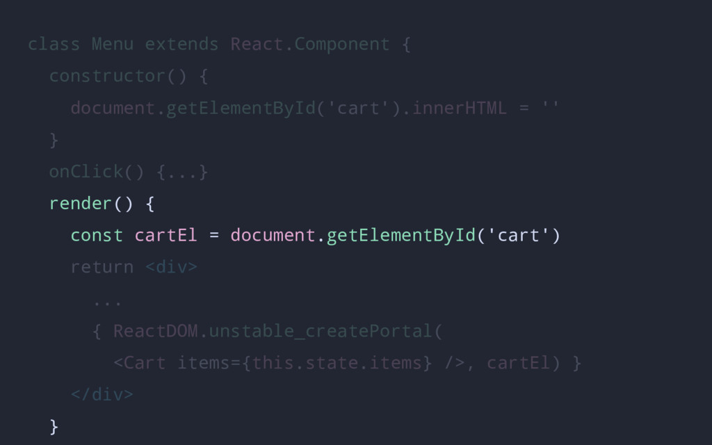 class Menu extends React.Component { constructo...