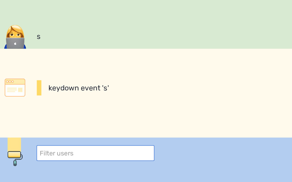 s Filter users keydown event 's'