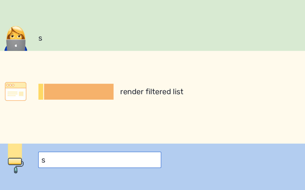 s s render filtered list