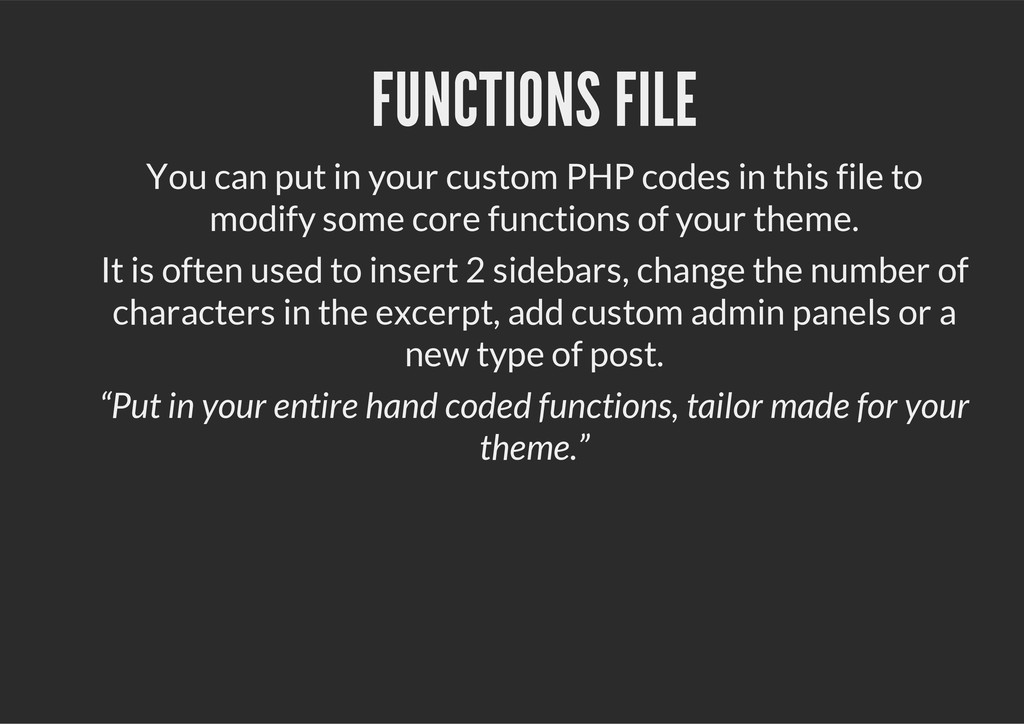 FUNCTIONS FILE You can put in your custom PHP c...