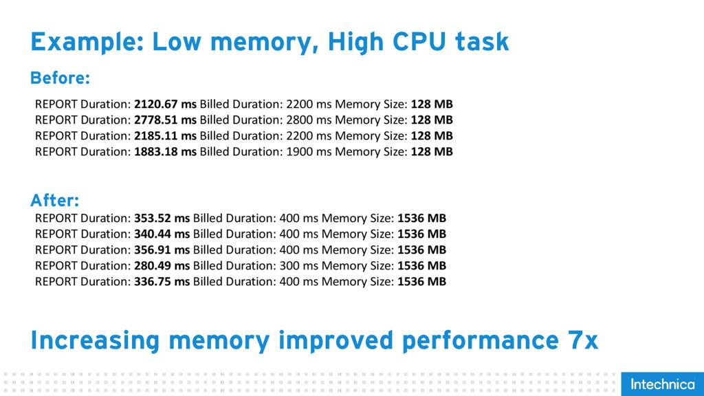 Example: Low memory, High CPU task REPORT Durat...