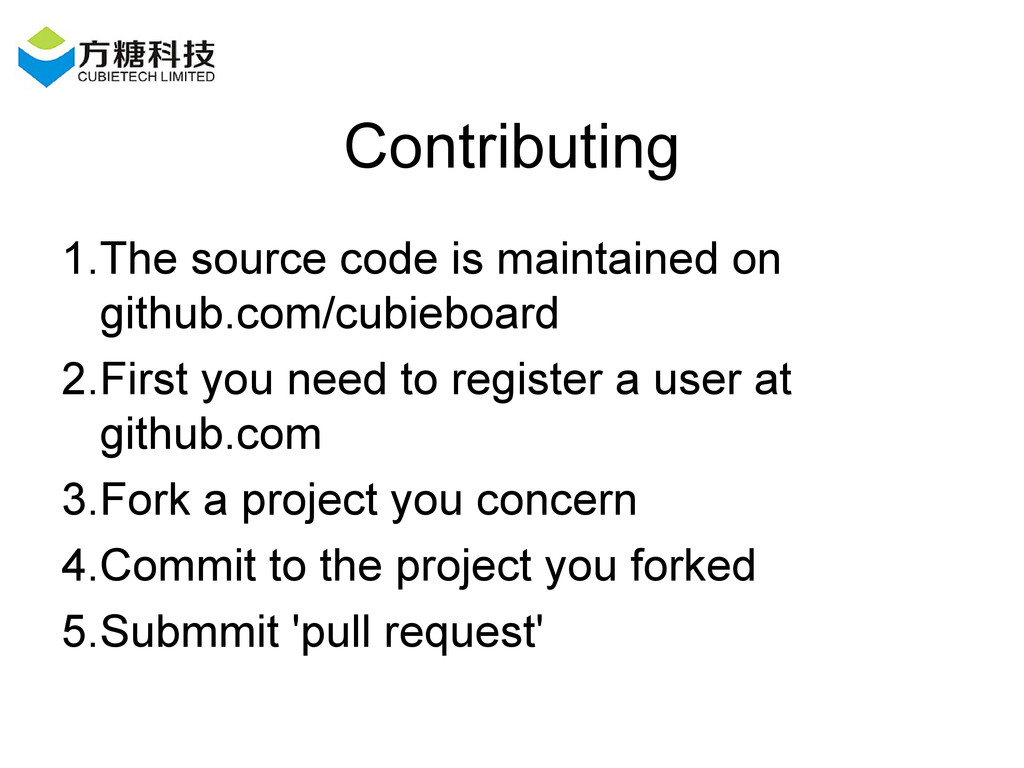 Contributing 1.The source code is maintained on...