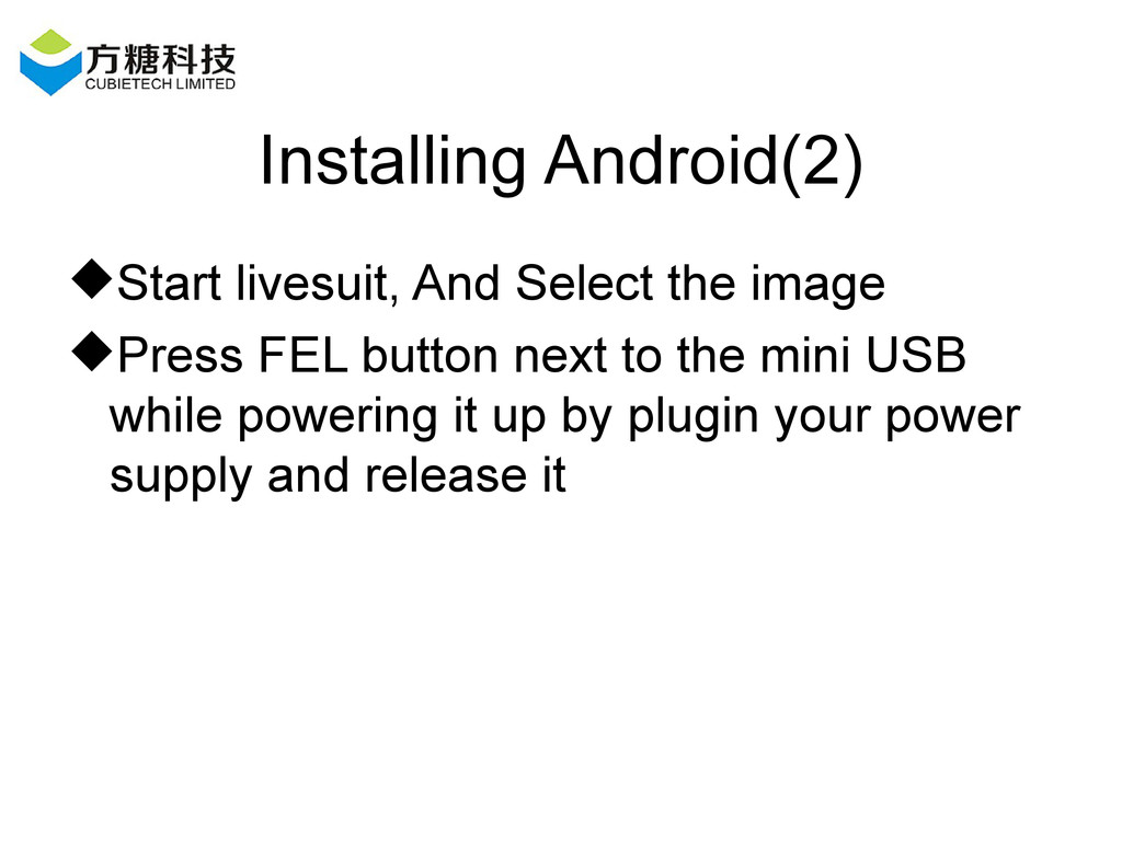 Installing Android(2) Start livesuit, And Sele...