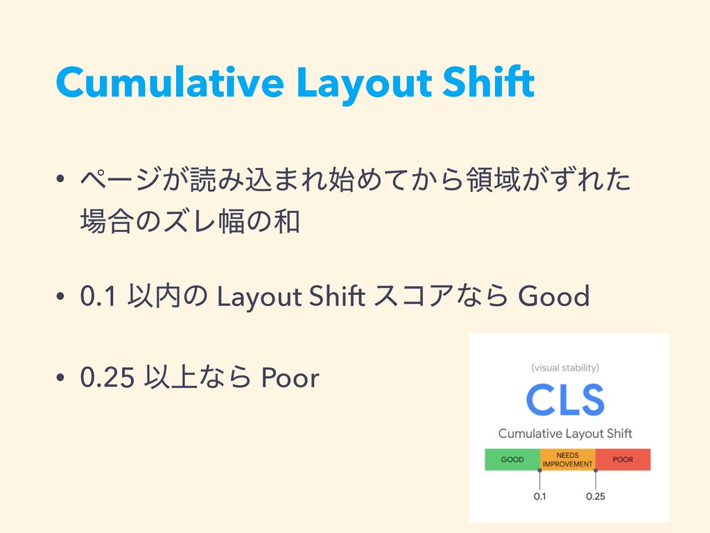 Cumulative Layout Shift • ϖʔδ͕ಡΈࠐ·ΕΊ͔ͯΒྖҬ͕ͣΕͨ ...