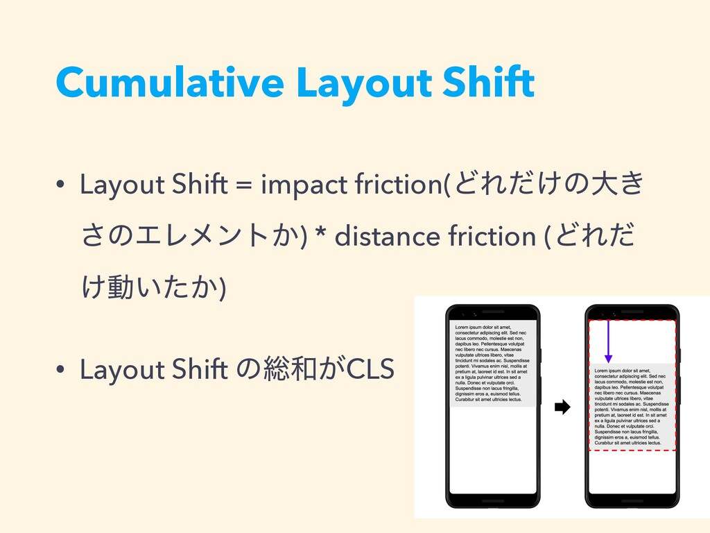 Cumulative Layout Shift • Layout Shift = impact...