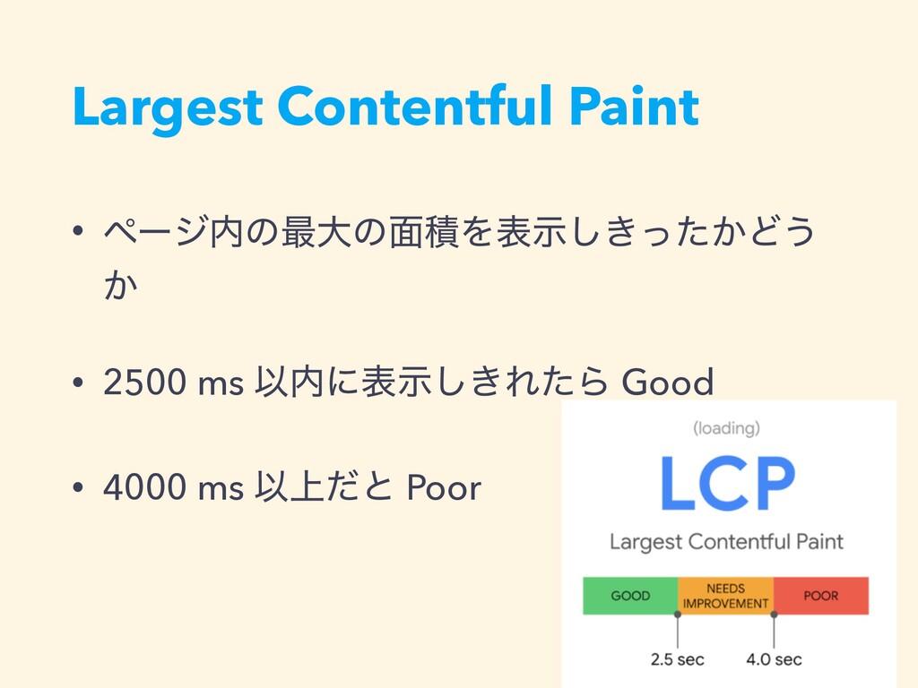 Largest Contentful Paint • ϖʔδͷ࠷େͷ໘ੵΛද͖͔ࣔͬͨ͠Ͳ͏...
