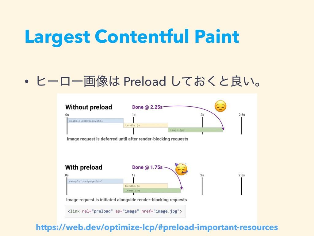 Largest Contentful Paint • ώʔϩʔը૾ Preload ͓ͯ͘͠...