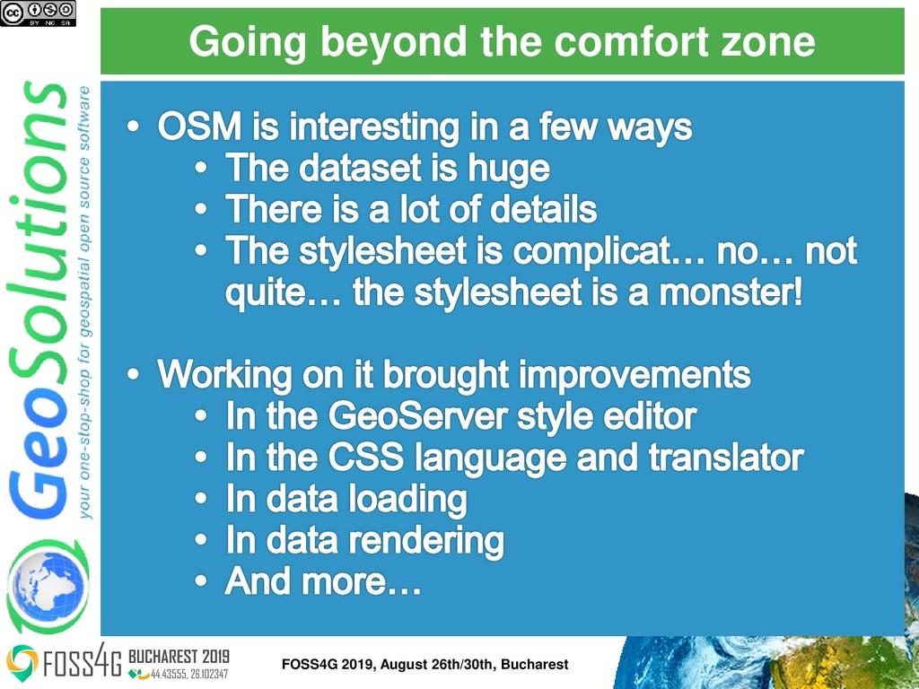 Going beyond the comfort zone FOSS4G 2019, Augu...