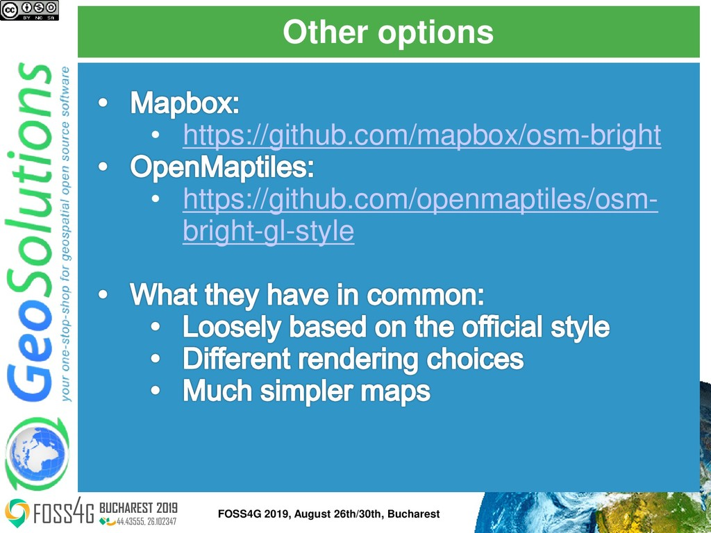 Other options FOSS4G 2019, August 26th/30th, Bu...
