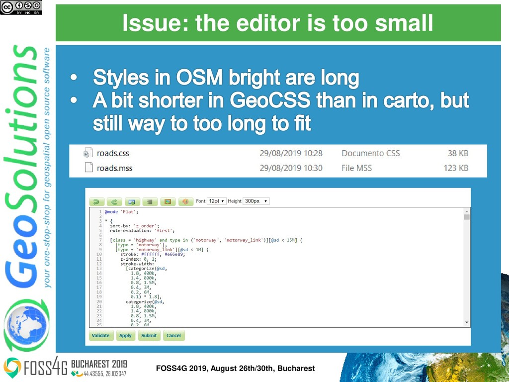 Issue: the editor is too small FOSS4G 2019, Aug...