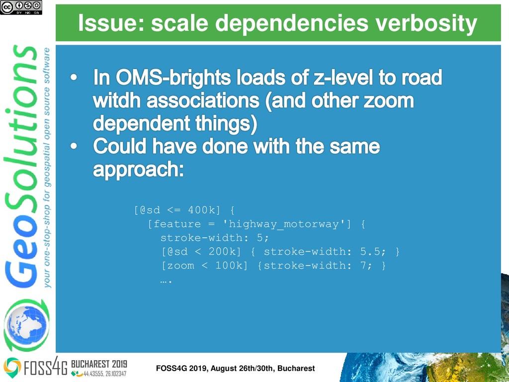 Issue: scale dependencies verbosity FOSS4G 2019...