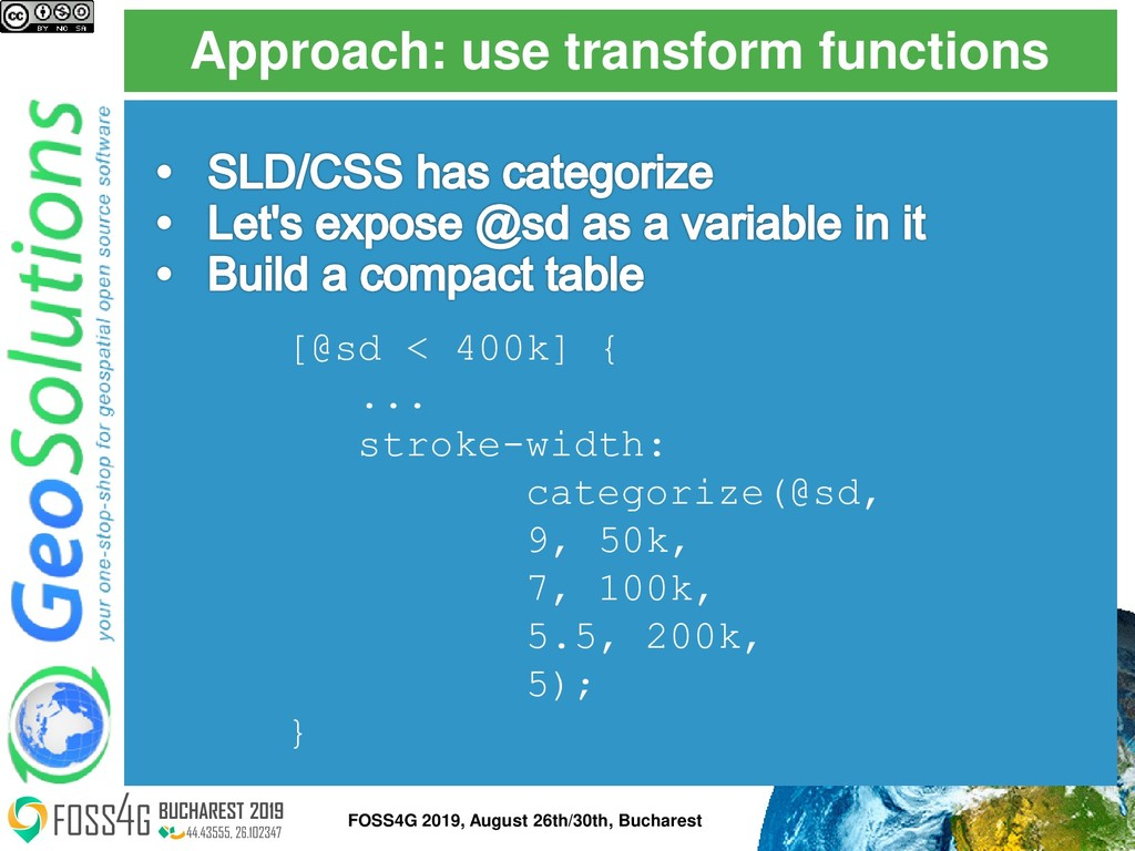 Approach: use transform functions FOSS4G 2019, ...
