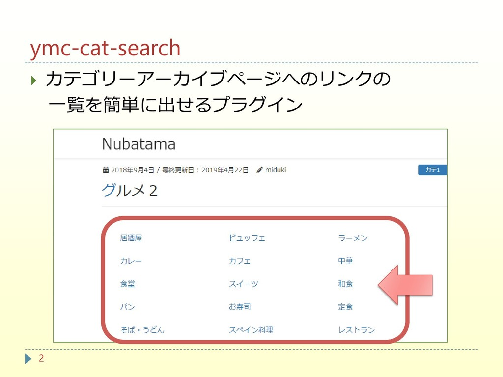 ymc-cat-search  カテゴリーアーカイブページへのリンクの 一覧を簡単に出せるプ...