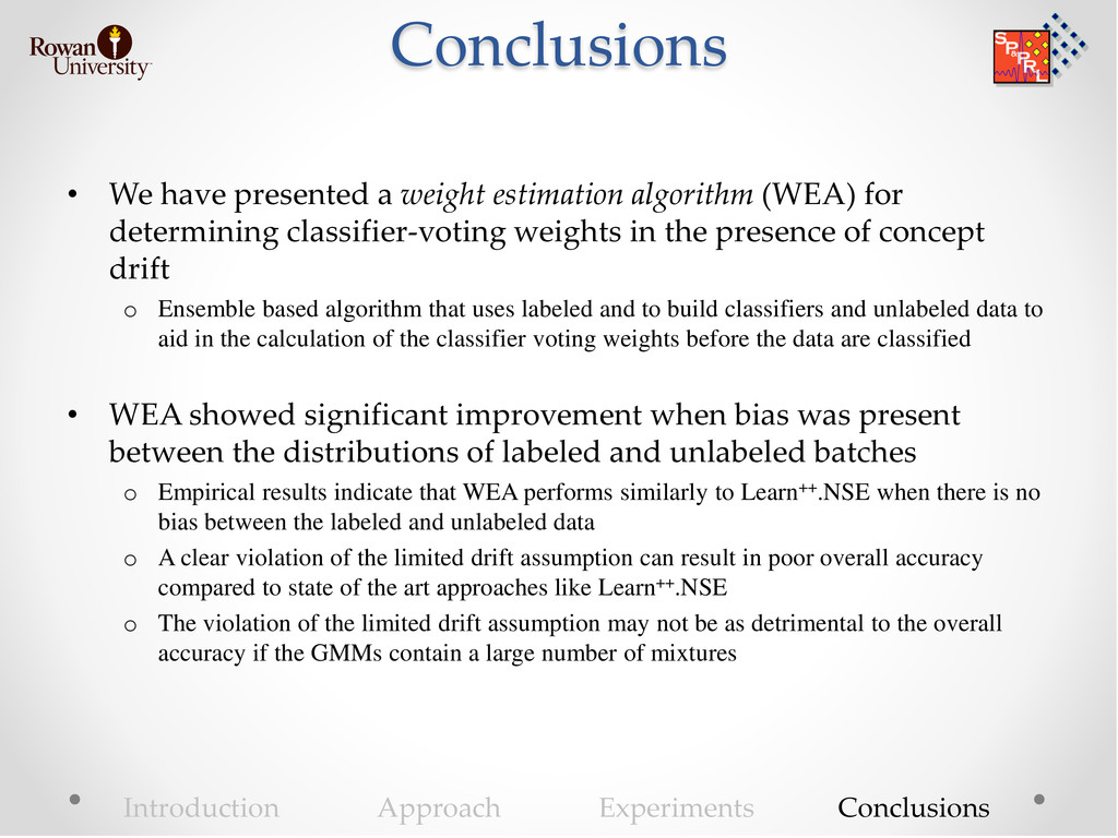 Conclusions • We have presented a weight estima...