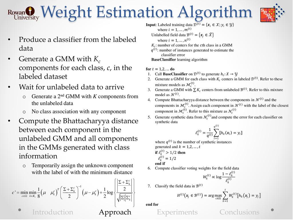 Weight Estimation Algorithm • Produce a classif...