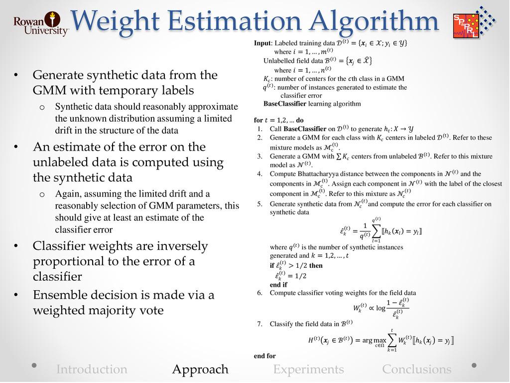 Weight Estimation Algorithm • Generate syntheti...
