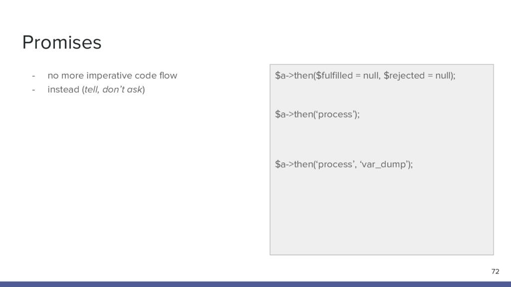 Promises - no more imperative code flow - inste...