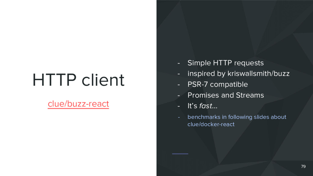 HTTP client 79 clue/buzz-react - Simple HTTP re...