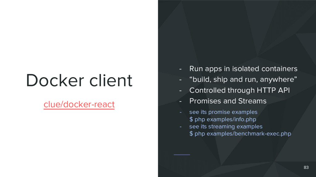 Docker client clue/docker-react - Run apps in i...
