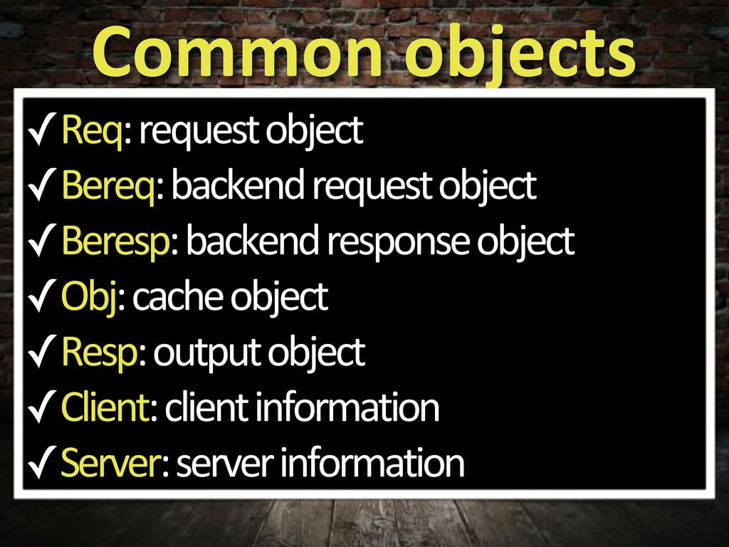 Common%objects ✓Req:5request5object ✓Bereq:5bac...