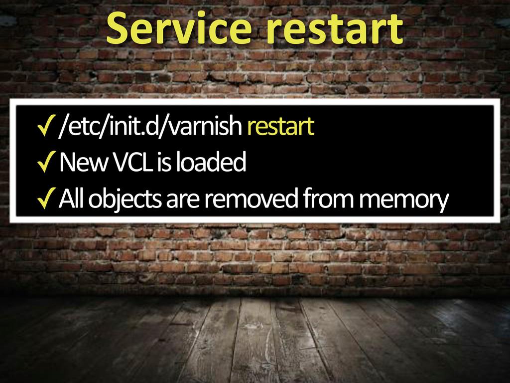 ✓/etc/init.d/varnish'restart ✓New'VCL'is'loaded...
