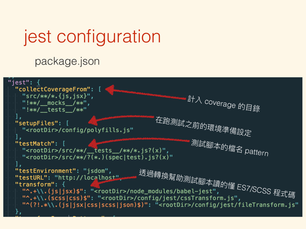 jest configuration package.json 計入 coverage 的⽬目錄...