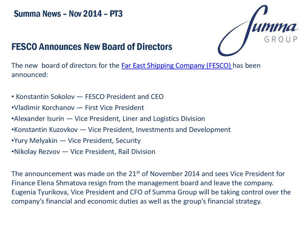 FESCO Announces New Board of Directors The new ...