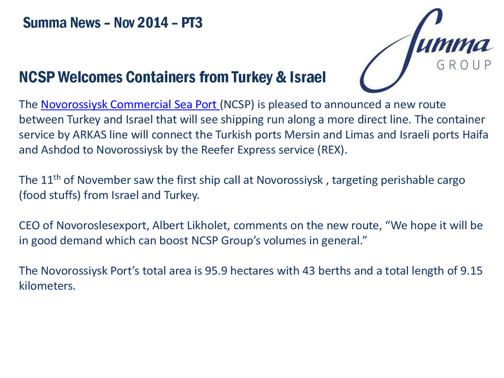 NCSP Welcomes Containers from Turkey & Israel S...