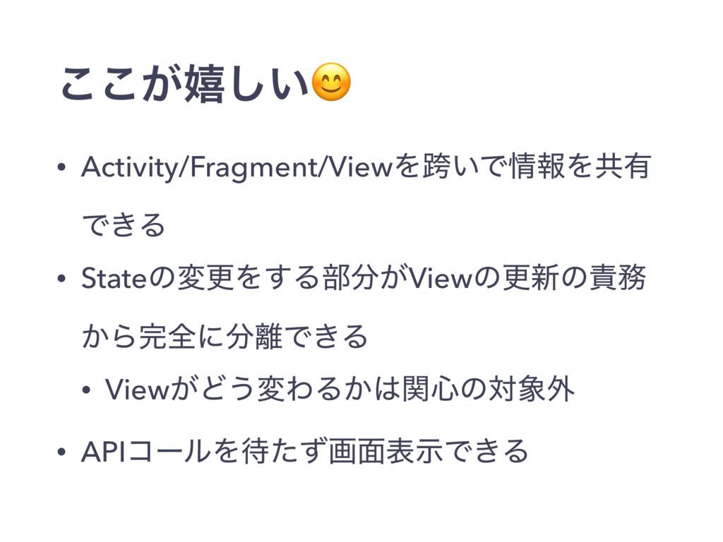 ͕͜͜خ͍͠ • Activity/Fragment/ViewΛލ͍ͰใΛڞ༗ Ͱ͖Δ • ...