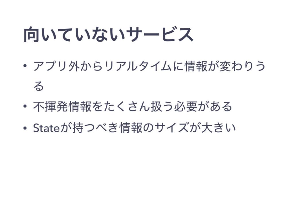 ͍͍ͯͳ͍αʔϏε • ΞϓϦ֎͔ΒϦΞϧλΠϜʹใ͕มΘΓ͏ Δ • ෆشൃใΛͨ͘͞...