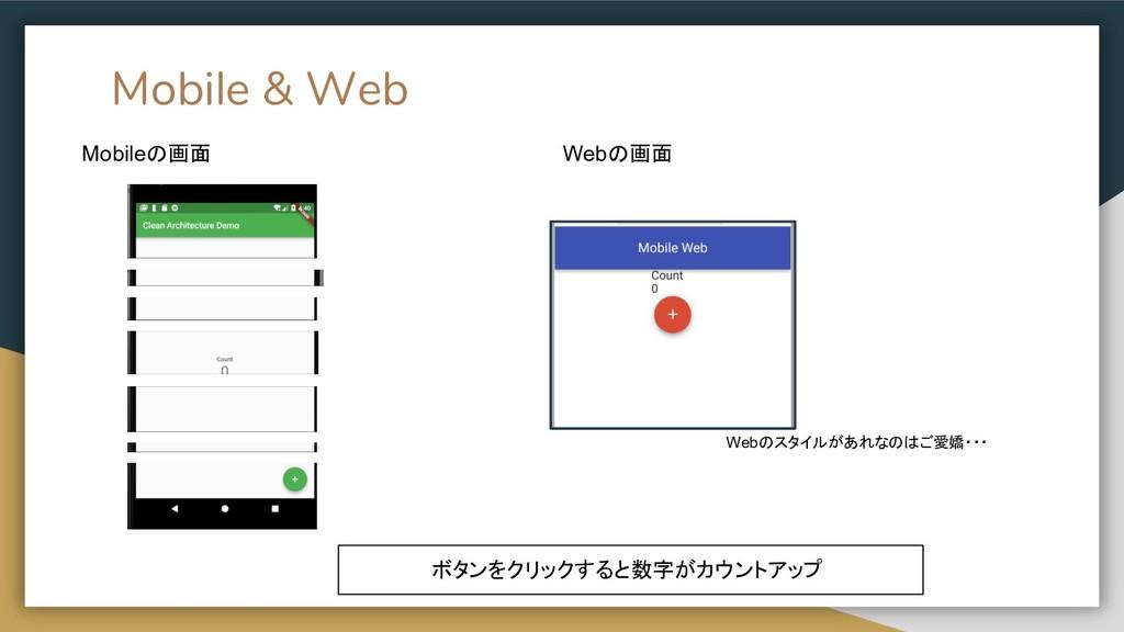 Mobile & Web Mobileの画面 Webの画面 ボタンをクリックすると数字がカウン...